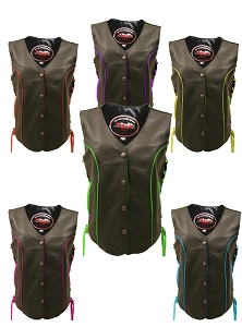 Women's Trim Biker Leather Vest