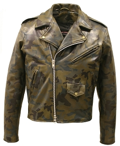 All Leather Camouflage Biker Jacket (Custom-Made)