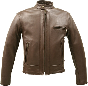 Hillside USA Brown Fitted Racer Jacket  (SALE)