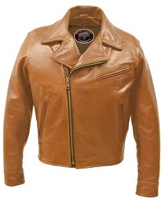 Half Belt Classic Biker Bison Jacket (Saddle Brown)