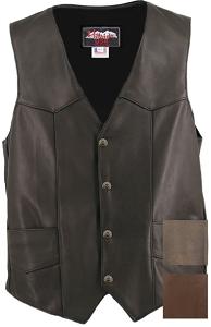 Men's Black Leather Basic Motorcycle Vest with Gun Pockets