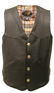 Men's Western Style Black American Bison Leather Vest.