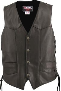Men's Solid Back Panel Biker Leather Vest Black