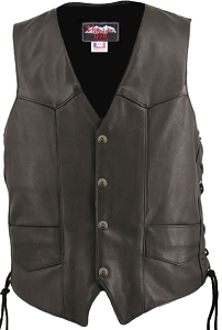 Men's Solid Back Panel Biker Vest (Custom)