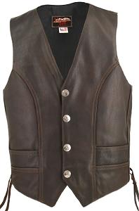 Men's Distressed Brown Genuine Bison Nickel Vest