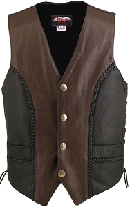 Men's Braided Black-Brown Leather Vest (Custom)