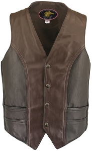 Men's Hillside USA Horsehide Biker Vest Two Tone