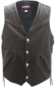 Men's Solid Back Distressed Brown Vest