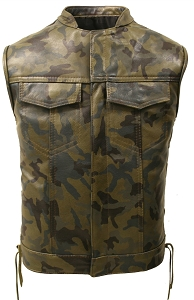Hillside USA All Leather Camouflage Biker Vest