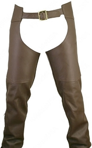 Men's Double Stitched Custom Leather Chaps-Brown (custom)
