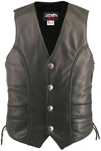 Men's Braided Leather Vest (Custom)