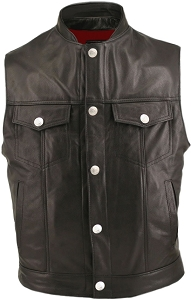 Men's Denim Style Stand Up Collar Vest (Custom)