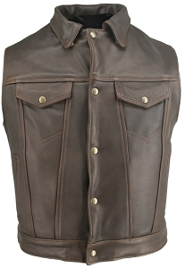 Men's Denim Style Vest Distressed Brown