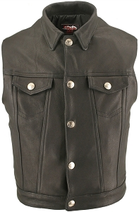 Men's Denim Style Vest With Collar