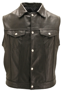 Men's Black Leather Motorcycle Vest with Snap Down Collar & Gun Pockets