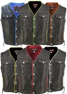 Men's Denim Style Lace Side / Trim Leather Vest