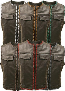 Outlaw All Leather Braided Biker Vest / Side Lace