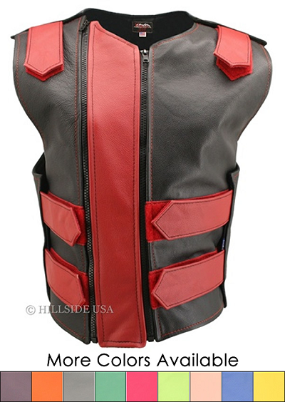 Hillside USA Women's Double Zipper Tactical Leather Vest (Custom-Made)