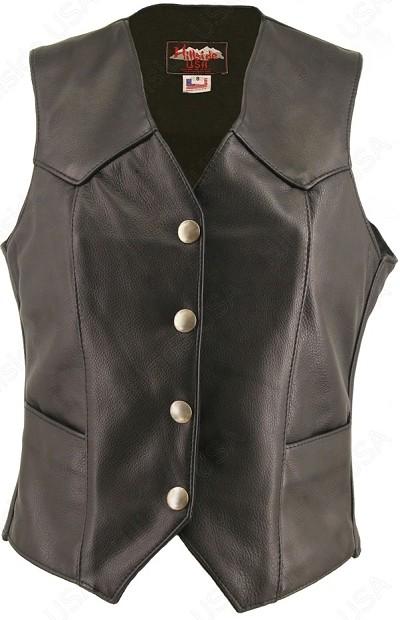 Women's Basic Leather Vest