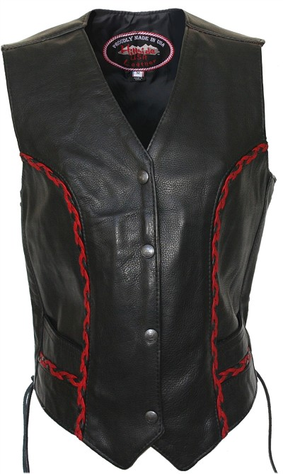 Women's Braided Vest (Black / Red)