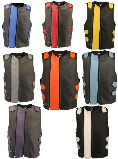 Men's Dual Front Zipper Tactical Leather Vest (Custom-Made)