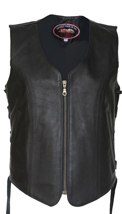 Women's Zip Up Black Biker Leather Vest with gun pockets