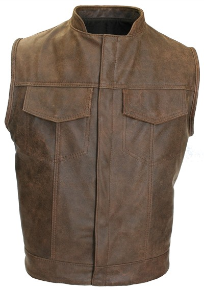 Brown Vintage SOA Biker Cut Concealed Snap / Hidden Zipper / 2 Inside Gun Pockets