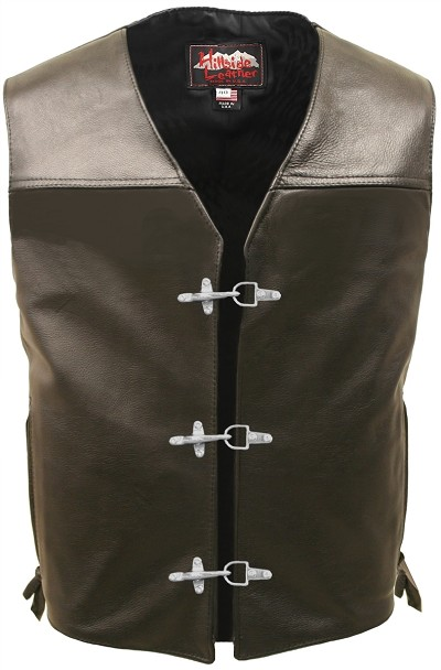 Elite Motorcycle Leather Vest with Metal Clasp