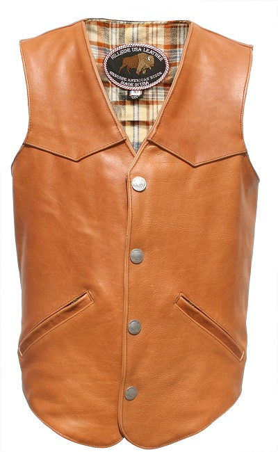 Men's Western Style Brown American Bison Leather Vest