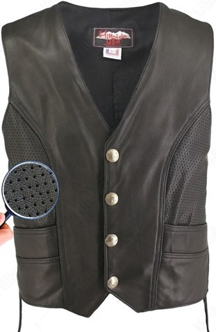 Men's Semi-Perforated Biker Vest