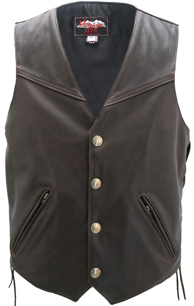 Men's Solid Back Distressed Brown Vest