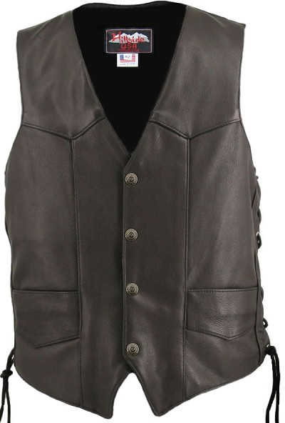 Men's Solid Back Panel Biker Leather Vest Black