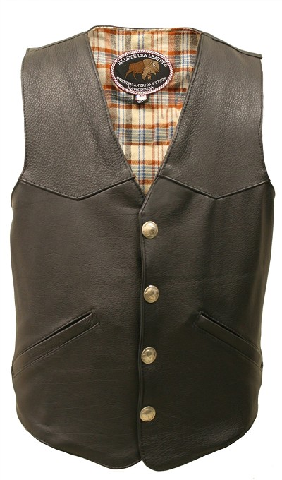 Men's Western Style Black American Bison Leather Vest.