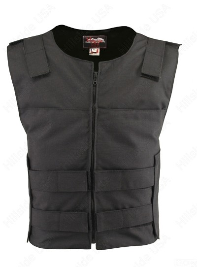 Men's Cordura Zippered Tactical Style Vest/Black (Custom-Made)