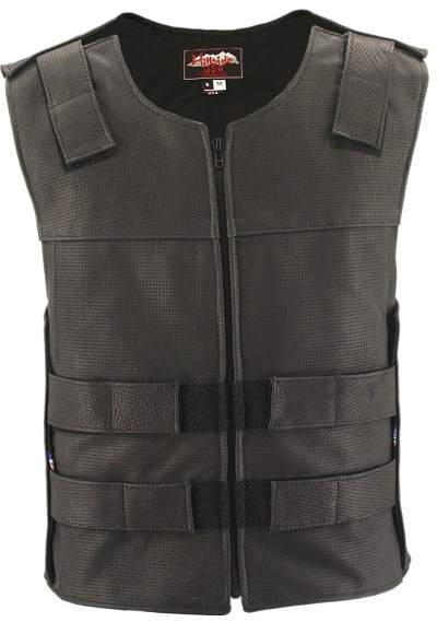 Full Perforated Zippered Tactical Style Leather Vest (Custom-Made)