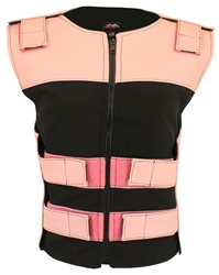 Women's Leather & Cordura Combo Zippered Tactical Vest Pink-Black