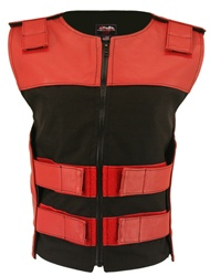 Women's Leather & Textile Zippered Red/Black