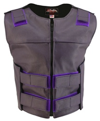 Women's Zippered Tactical Style Purple Leather Vest