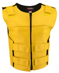 Women's Zippered Tactical Style Yellow Leather Vest