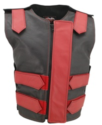 Women's Removable Flap Tactical Leather Vest Black/Red