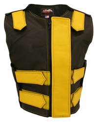 Women's Removable Flap Tactical Leather Vest Black/Yellow