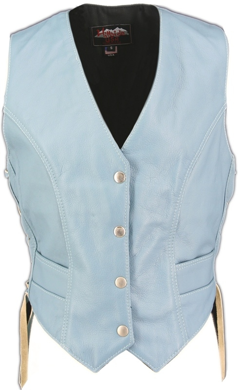 Women's Baby Blue Leather Vest