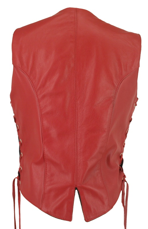Women S Red Leather Vest