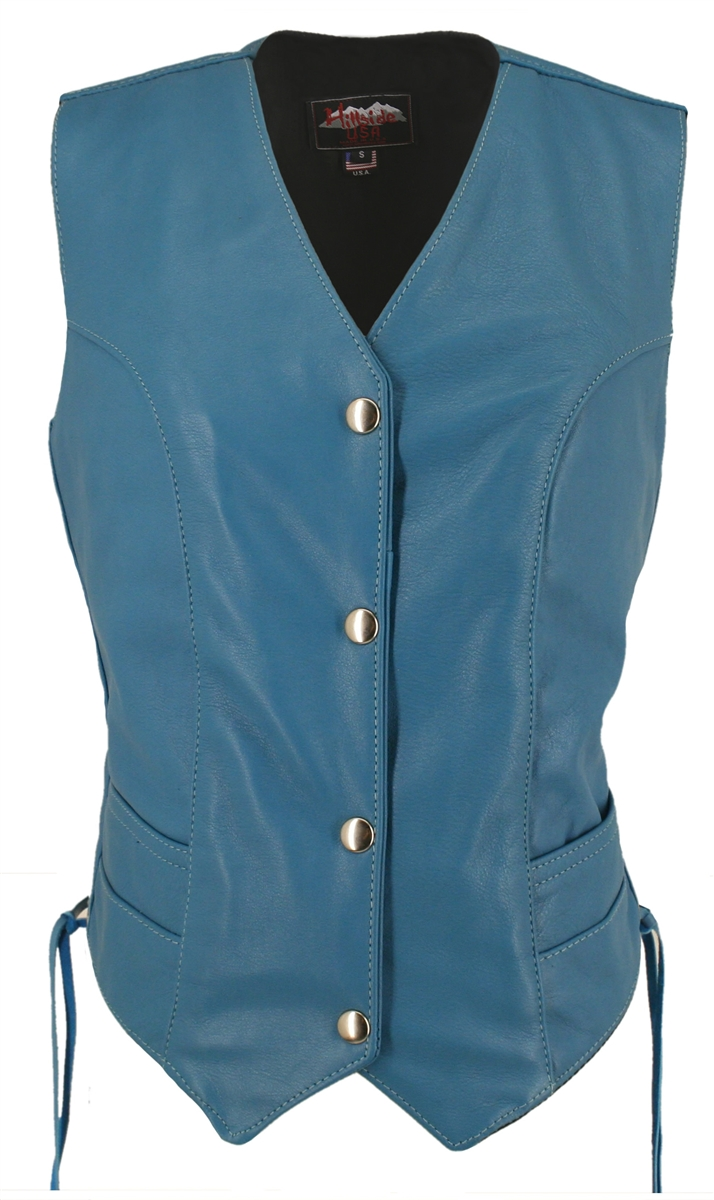Women's Turquoise Leather Vest