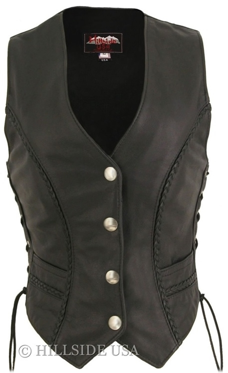 Women's Braided Leather Vest/Genuine  Mercury Silver Dime