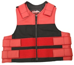 Kids Combo Leather/Cordura Tactical Vest-Red & Black