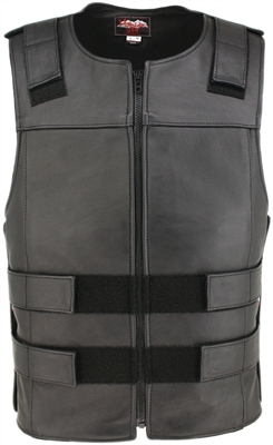 Men's Black Zippered Bulletproof Style Leather Vest