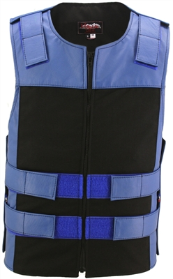 Leather & Cordura Combo Zippered Tactical Vest. Royal Blue / Black