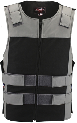 Leather & Cordura Combo Zippered Tactical Vest-Grey/Black.