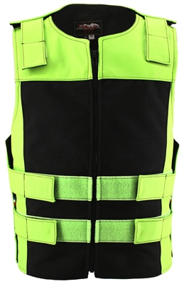 Leather & Cordura Combo Zippered Tactical Vest. Lime Green / Black